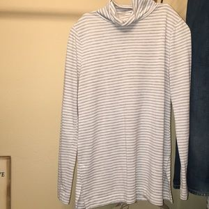Gray and white striped turtleneck long sleeve